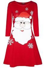 Womens Ladies Snowflakes Reindeer Santa Costume Christmas Xmas Swing Mini Dress