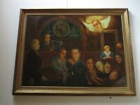 PUBLISHED LARGE AMERICANA OIL PAINTING DON GRIFFITH 1930'S POLITICAL SATIRE WPA
