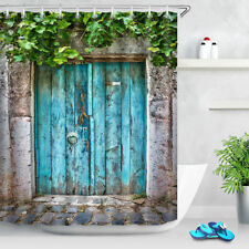 "72"" Rustic Blue Wood Door Shower Curtain Bathroom Set Waterproof Fabric Hooks"
