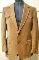 Vintage 70s Whitney Tan Gold Western Corduroy Blazer Suit Jacket Mens Sz M 42R