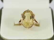 Citrine Solitaire Ring 9ct Gold Ladies Stunning Size F 3/4 375 4.3g En88