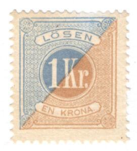 SWEDEN POSTAGE DUE #J22 1k BLUE & BISTRE, 1877 PERF13, F, UNUSED, NO GUM
