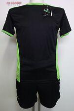 Set Completo maglia pantaloncino Running DEKO Nero Verde TG. S