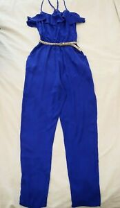 FOREVER NEW Royal Blue JUMPSUIT Size 6 BNWT NEW Ruffle Long Pockets Gold Belt