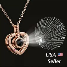 100 Languages Light Projection I Love You Heart Pendant Necklace Lover N151
