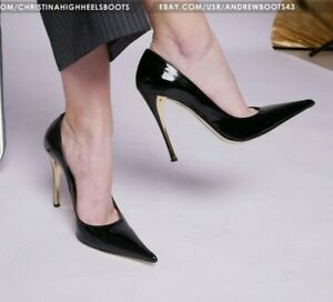 GIANMARCO LORENZI EU 38 US 7,5 pointy stilettos patent leather pumps Gold soles