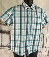 Prana Short Sleeve Button Up Shirt Plaid Organic Cotton Small Men