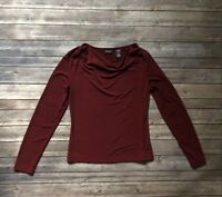 New York and Company Burgundy Top Blouse Long Sleeve Cowl Neck Size S