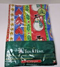 "Trim a Home Tablecover Flannel-backed NIP Christmas round 60"" holiday"