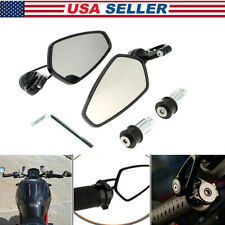 "Motorcycle 7/8"" Handle Bar End Rearview Side Mirrors CNC 360° Rotation Universal"