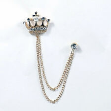 Rhinestone Crown Vintage Pins & Brooches Gold Plated Jewelry For Men Women