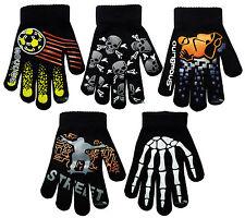 Boy's Magic Gloves Funky Gripper Designs Kids Boys Winter Warm One Size