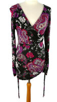 Joe Browns 10 Black Purple Paisley Dress Tunic Top Drawstring Long Sleeve V Neck