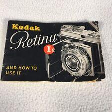 "Vintage Kodak Retina Ia Instruction Book 38 pages Complete 4.75""x 3"""