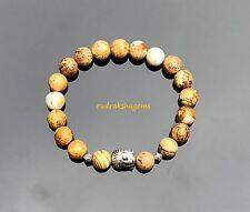 Picture Jasper Natural Gemstone Healing Bracelet Chakra Buddha Yoga Wrist band