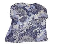 🌸CHICO'S V-Neck Cotton Modal Top Purple Floral Print Sz 3 Large 3/4 Sleeve