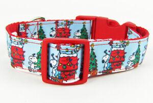 "Snoopy Christmas dog collar handmade adjustable buckle 1"" or 5/8"" wide or leash"