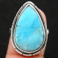 Top Grade Larimar (Dominican Republic) 925 Silver Ring s.8 Jewelry 0534