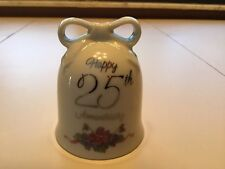 Porcelain Hand Bell - 3 Inches - Happy 25th Anniversary Keepsake Vintage Antique