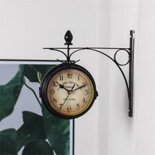 Home Vintage Double Sided Wall Clock Garden Station Wall Clock Bracket US Sale
