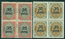 DENMARK : 1912. Scott #79-80 Fresh set of Blocks of 4. VF Mint OG HR. Cat $176.