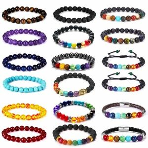 7 Chakra Natural Lava Gemstone Beads Buddha Bracelet Bangle Lucky Jewelry Women