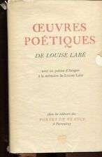 OEUVRES POETIQUES de Louis LABE avec un poème d'ARAGON 1943