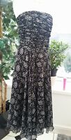 """Hobbs Black Floral Strapless Occasion Dress ~ Chiffon ~ Size 8/10 - 34"""" Bust"""