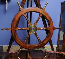 "Teak Wood Boat Ships Steering Wheel 30"" Brass Handles & Hub Nautical Decor New"