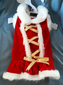 Cute ZACK & ZOEY Red Velour S Doggie Holiday Party Dress,White Furry Trim NWOT