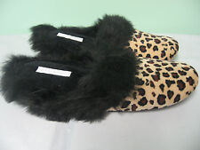 NEW Charter Club Faux Fur Leopard Scuff Slippers S 5 - 6  FREE US SHIP!