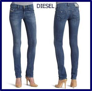 diesel jeans da donna vita bassa elasticizzati pantaloni gamba dritta w31 w32 46