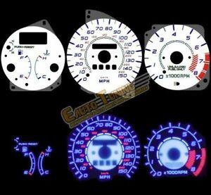 White Indiglo El Gauges Kit Glow BLUE Reverse for 92-95 Mazda MX3 MX-3 w/ RPM