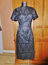 Vtg 1960s 60s ELEGANT Sheer LACE Cocktail Hoiday Party Wiggle Black DRESS M