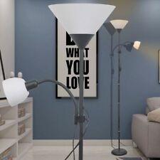 vidaXL Lámpara de Pie de Acero con Pintura Negra 2 Luces con 2 Interruptores