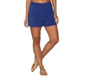Denim & Co. Women's Pull-on Full Elastic Beach Swim Shorts Bright Navy 24W Size