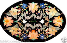 """18""""x36"""" Black Marble Dining Table Top Mosaic Style Inlay Marquetry Home Decor"""