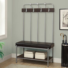 Storage Bench Seat Rack Hall Tree Coat Stand Furniture Silver Metal Entryway New