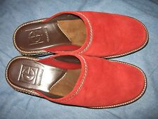 WOMENS 8 B RED SUEDE LEATHER COLE HAAN CLOG MULE SLIP ON WEDGE HEEL SHOES