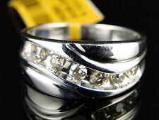 10K New Mens White Gold Round Cut White Diamond Ring Wedding Band .66 Ct 9 Mm