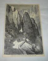 1879 magazine engraving ~ PASS OF THE DESPENAPERROS Sierra Moreno, Spain