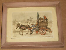 1966 NY ANTON PIECK 3D LITHO PRINT PICTURE OLD DONKEY WAGON ORGAN GRINDER MONKEY