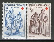 SERIE TIMBRES N° 1140-1141 OBLITERES TB - CROIX ROUGE DE 1957