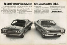 Vintage 1967 Two Page Magazine Ad for AMC Comparison Between Fairlane & Rebel