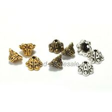 50pcs Antique Silver/Golden/Bronze Petunia Flower Bead Caps End Beads