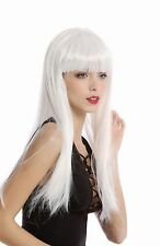 Wig Ladies Carnival smooth long wide Pony white Science Fiction Cyborg Disco