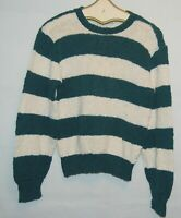 Vintage Neiman Marcus Womens Knit Sweater Forest Green White Striped M