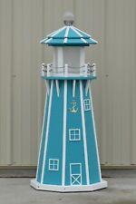 4' Octagon Electric and Solar Powered Polywood Lighthouse, Aruba Blue/White Trim