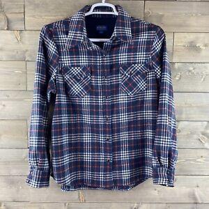 Pendleton Womens Shirt Long Sleeve Pearl Snap Up Plaid Wool Blend Size XL