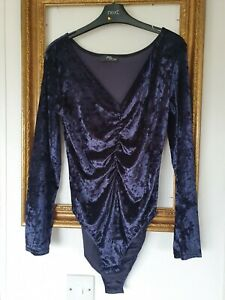 Jane Normal Midnight Blue Crushed Velvet Body Top Suit Size 14